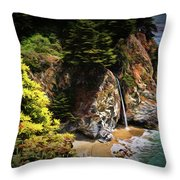 Mcway Falls Painting Throw Pillow