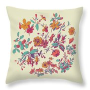 Meadow Flower And Leaf Wreath Isolated On Beige, Circle Doodle F Throw Pillow