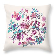 Meadow Flower And Leaf Wreath Isolated On Pink, Circle Doodle Fl Throw Pillow