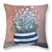 Meadow Flowers In Striped Vase  Throw Pillow