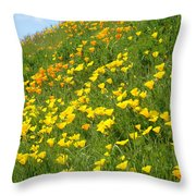 Meadow Hillside Poppy Flowers 8 Poppies Artwork Gifts Throw Pillow