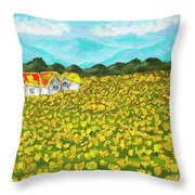Meadow With Yellow Dandelions, Oil Painting Throw Pillow