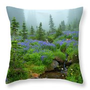 Meadows In The Mist Throw Pillow