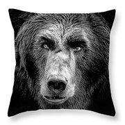 Mean Mug Griz Throw Pillow