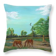 Meandering Mares Throw Pillow