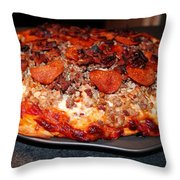 Meat Monster Pizza II Throw Pillow