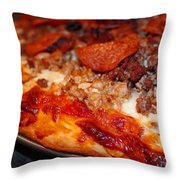 Meat Monster Pizza Throw Pillow