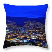 Medellin Colombia At Night Throw Pillow