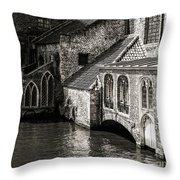 Medieval Architecture Of Bruges Throw Pillow