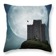 Medieval Castle At Night By Moonlight Throw Pillow