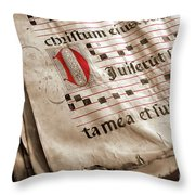 Medieval Choir Book Throw Pillow by Carlos Caetano