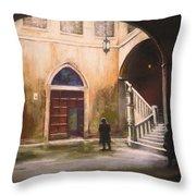 Medieval Courtyard Throw Pillow