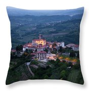 Medieval Hilltop Village Of Smartno Brda Slovenia At Dawn In The Throw Pillow