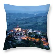 Medieval Hilltop Village Of Smartno Brda Slovenia At Dusk With S Throw Pillow