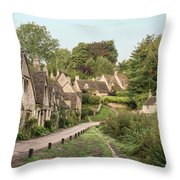 Medieval Houses In Arlington Row In Cotswolds Countryside Landsc Throw Pillow