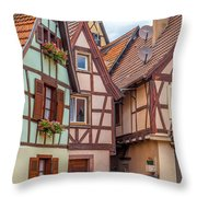 Medieval Houses In Ribeauville  Throw Pillow