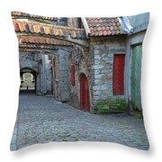 Medieval Lane In Tallinn Throw Pillow