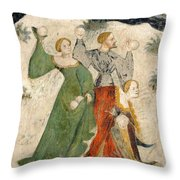 Medieval Snowball Fight Throw Pillow