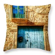 Medieval Spanish Gate And Balcony - Vintage Version Throw Pillow