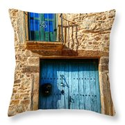 Medieval Spanish Gate And Balcony Throw Pillow
