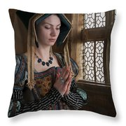 Medieval Tudor Woman At Prayer Throw Pillow