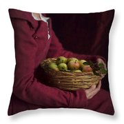Medieval Woman Holding A Basket Of Apples Throw Pillow