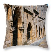 Medievil Town In Rhodes Throw Pillow by Sandra Bronstein