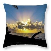 Meditating At Sunrise Throw Pillow