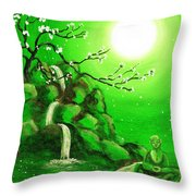 Meditating While Cherry Blossoms Fall In Green Throw Pillow