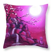 Meditating While Cherry Blossoms Fall Throw Pillow