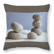 Meditation Stones On White Sand Throw Pillow