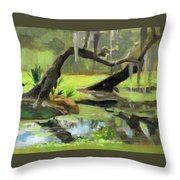 Meditative Swamp Throw Pillow