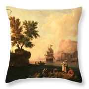 Mediterranean Harbor Scene Throw Pillow
