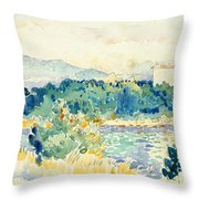 Mediterranean Landscape With A White House Throw Pillow