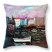 Mediterranean Port Throw Pillow