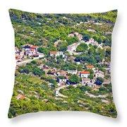 Mediterranean Village On Island Of Vis Throw Pillow