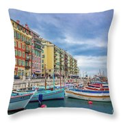 Meditteranean Life In Nice, France Throw Pillow