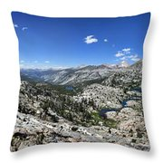 Medley Lake Basin Panorama From High Above - Sierra Throw Pillow