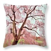 Meet Me Under The Pink Blooms Beside The Pond - Holmdel Park Throw Pillow