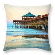 Meet You At The Pier - Folly Beach Pier Throw Pillow