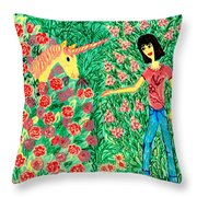 Meeting In The Rose Garden Throw Pillow by Sushila Burgess