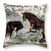 Meeting On The River  Throw Pillow