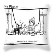 Meeting Up In Dog Park Throw Pillow