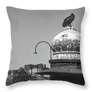 Mehrangarh Fort - Approach With Caution Bw Throw Pillow