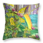 Mejiro Birds With Ohia Flower Throw Pillow