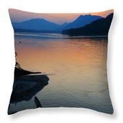 Mekong River Sunset Throw Pillow