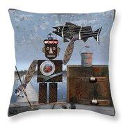 Mel Catches A Walleye Throw Pillow