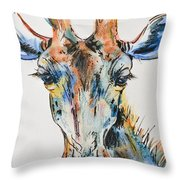 Melancholic Giraffe Throw Pillow