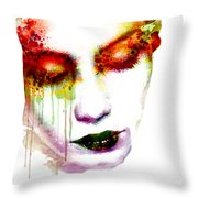 Melancholy In Watercolor Throw Pillow