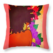 Melanin And Flowers Throw Pillow